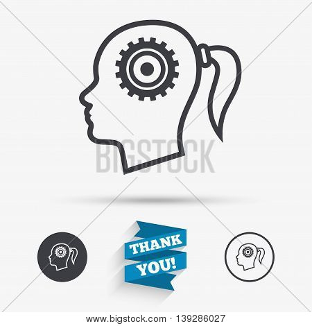 Head with gear sign icon. Female woman human head think symbol. Flat icons. Buttons with icons. Thank you ribbon. Vector