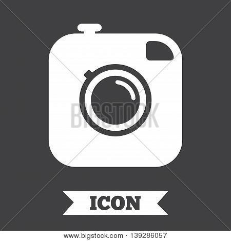 Hipster photo camera sign icon. Retro camera symbol. Graphic design element. Flat photo camera symbol on dark background. Vector