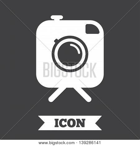 Hipster photo camera sign icon. Retro camera on tripod symbol. Graphic design element. Flat photo camera symbol on dark background. Vector
