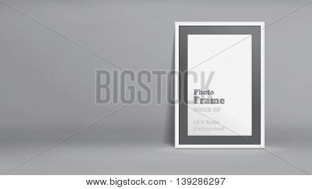 Vector, Blank Photo Frame In Dark Grey Studio Room, Template Mock Up For Display Or Montage Of Your