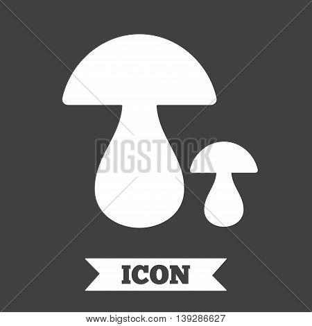Mushroom sign icon. Boletus mushroom symbol. Graphic design element. Flat mushroom symbol on dark background. Vector