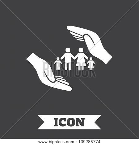 Family life insurance sign icon. Hands protect human group symbol. Health insurance. Graphic design element. Flat insurance symbol on dark background. Vector
