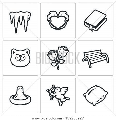 Icicles, Heart, Book, Cat, Rose, Bench, Condom, Cupid, Pillow, vector illustration