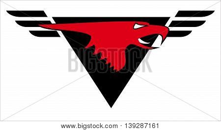 Eagle mascot. Red Head Eagle with upside down triangle and spread wings at the background.