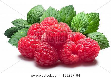 Raspberries With Mint Leaves