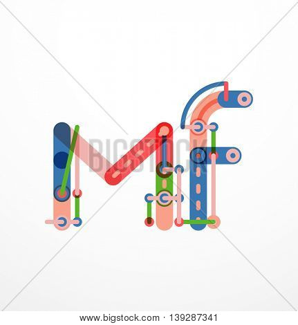 Vector letter logo created with colorful connected line elements. Abstract geometric design