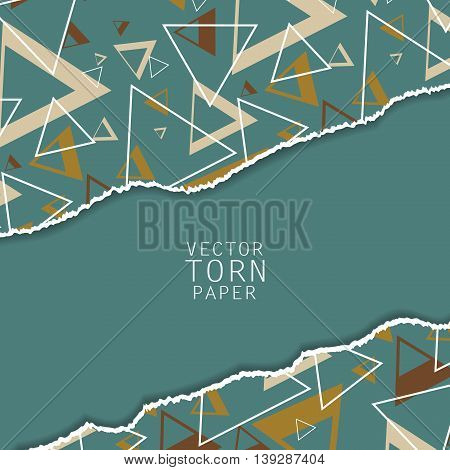 Unusual modern material design. Torn paper with seamless pattern. Geometric shapes. Eps10 vector illustration