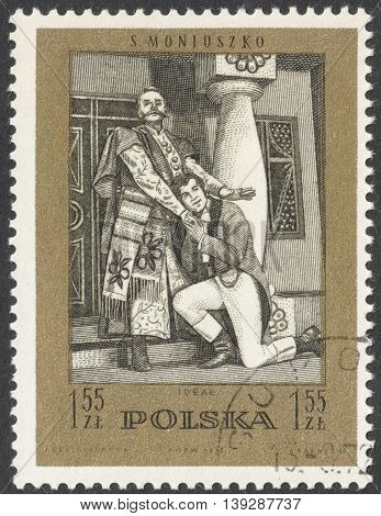 MOSCOW RUSSIA - CIRCA FEBRUARY 2016: a post stamp printed in POLAND shows scene from