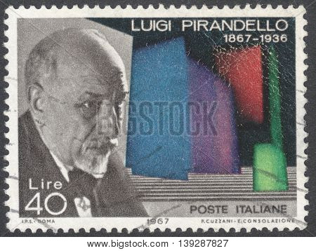 MOSCOW RUSSIA - JANUARY 2016: a post stamp printed in ITALY shows a portrait of Luigi Pirandello devoted to the 100th Anniversary of the Birth of Pirandello circa 1967