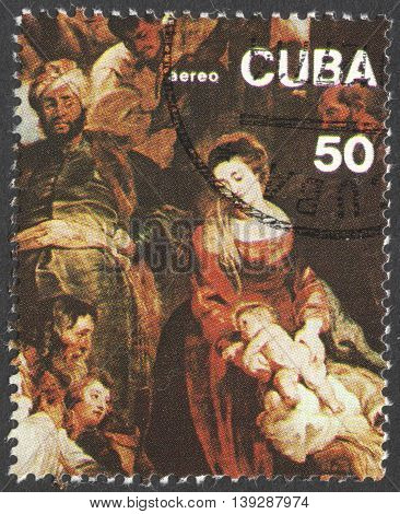 MOSCOW RUSSIA - JANUARY 2016: a post stamp printed in CUBA shows painting by Peter Paul Rubens