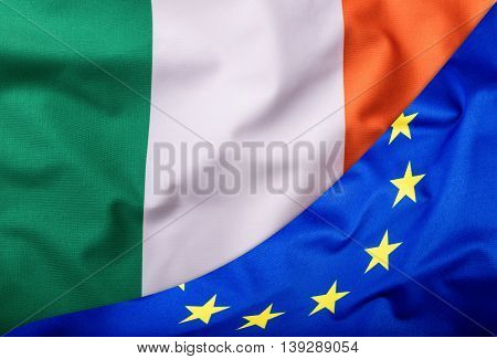Flags of the Irleand and the European Union. Irleand Flag and EU Flag. World flag money concept