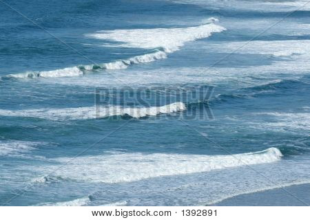 Atlantic Waves Breaking As They Reach The British Shore.
