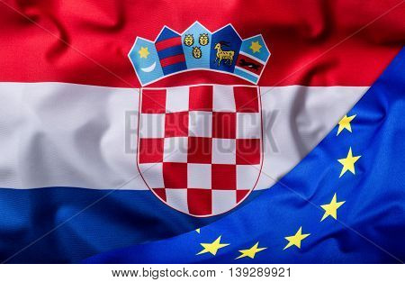 Flags of the Croatia and the European Union. Croatia Flag and EU Flag. World flag money concept.