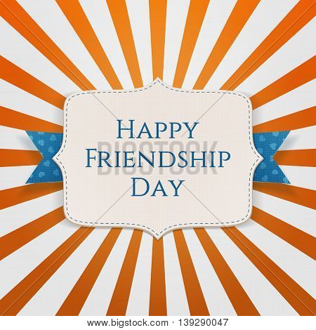Happy Friendship Day realistic Holiday Label. Vector Illustration