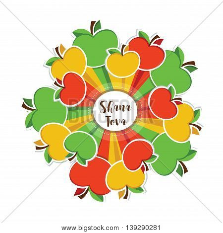 Happy new year, Shana Tova in Hebrew, Jewish holiday. colourful apples around circle . vector illustration