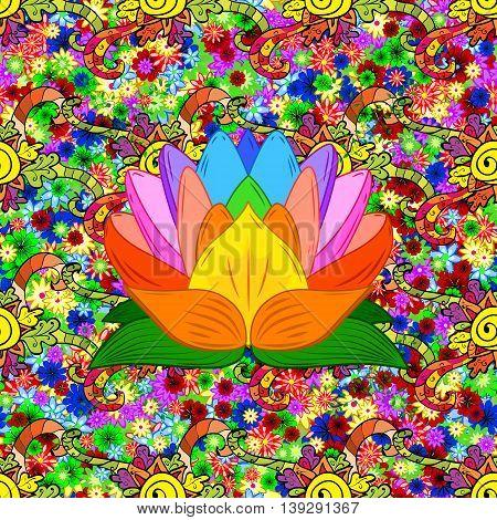 Doodles Abstract Floral Illustration Design Element. Colored Version.