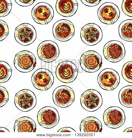 Coffee cup. Set. Latte and cappuccino. Seamless vector pattern. White background.