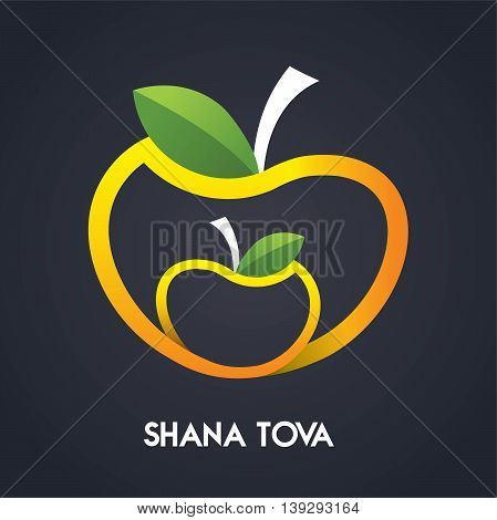 Happy new year, Shana Tova in Hebrew, Jewish holiday. Apples Icons - Isolated On Black Background - Vector Illustration. illustration