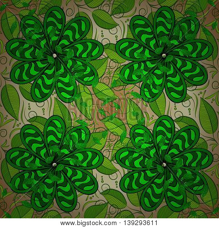 Vector vivid abstract hand drawn pattern with plants.
