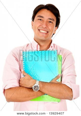 Male student holding a notebook - isolated over white