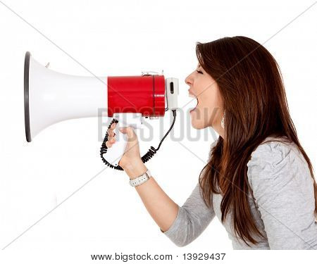 Woman screaming on a megaphone - isolated over white