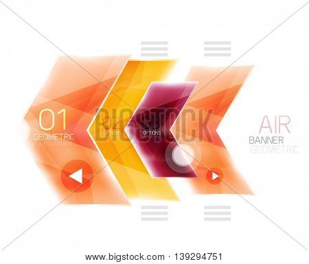 Glossy color arrow shapes with option infographic and buttons. Vector web information box