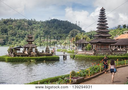BALI, INDONESIA, 4 April 2016: Pura Ulun Danu Bratan, or Pura Bratan, is a major Shivaite and water temple on Bali, Indonesia. The temple complex is located on the shores of Lake Bratan in the mountains near Bedugul.