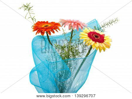bouquet of gerbera colorful on white background