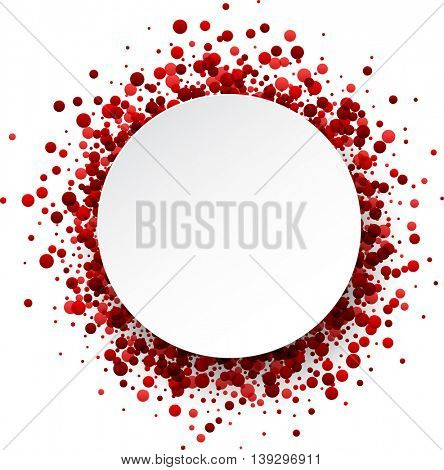 Paper round white background with red drops. Vector illustration.