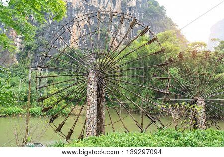 bamboo waterwheel is rotating