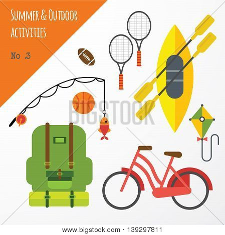 Summer outdoor activities sport equipment flat icons collection with tennis rackets and bicycle abstract isolated vector illustration