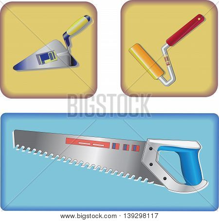 New tooling. Vector drawings. Three icons. Trowel (trowel), roller, saw on yellow and blue background