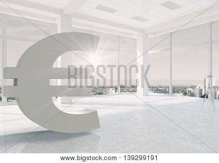 Euro sign in interior . Mixed media