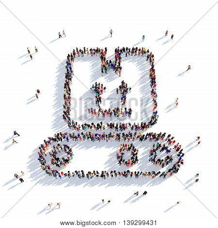 Large and creative group of people gathered together in the shape of delivery of parcel. 3D illustration, isolated against a white background. 3D-rendering.