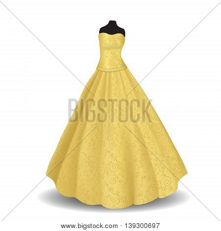 yellow party dress with shadow on a white background