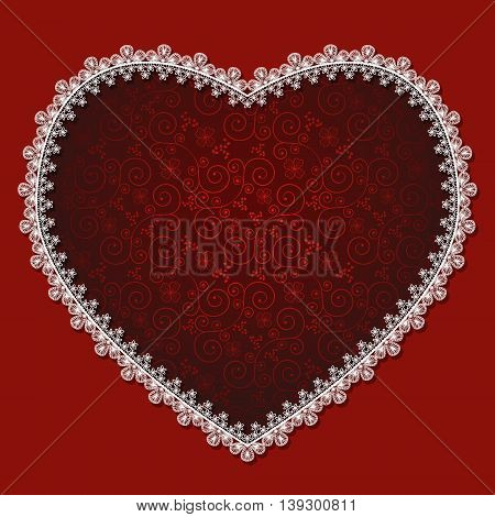 heart with white lace and shadow on a red background