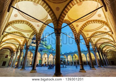 Evening view of the Blue Mosque from courtyard in Istanbul. Sultanahmet Camii with backlit. Travel Turkey. The Muslim religion.