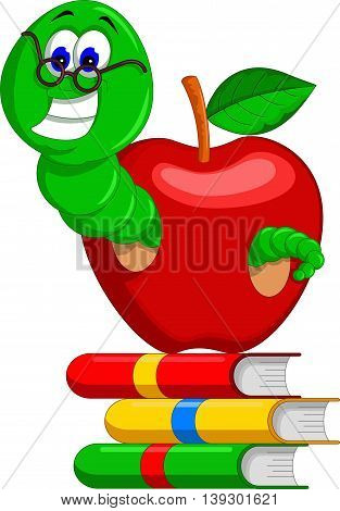 caterpillar, books and apple for you design