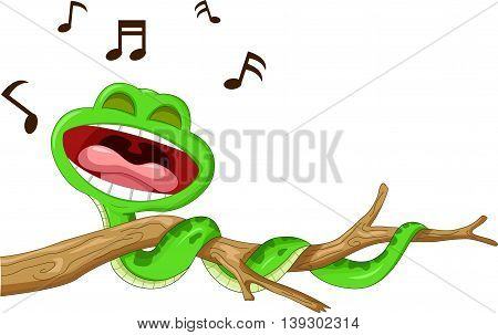snake cartoon singing on the branch for you design