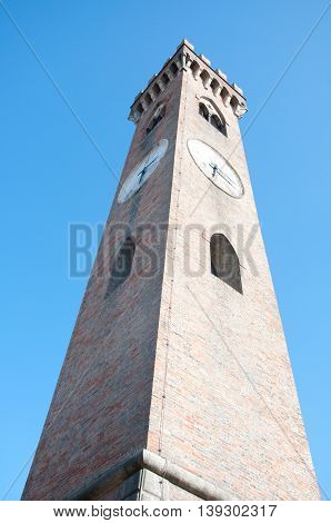 Belltower in the city of Santarcangelo of Romagna. Emilia-Romagna