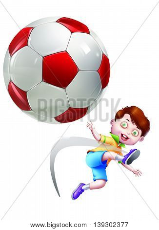 A boy kicking a flying ball isolated on white Background