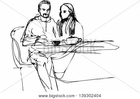black and white vector sketch of a young man and woman drinking tea in a cafe