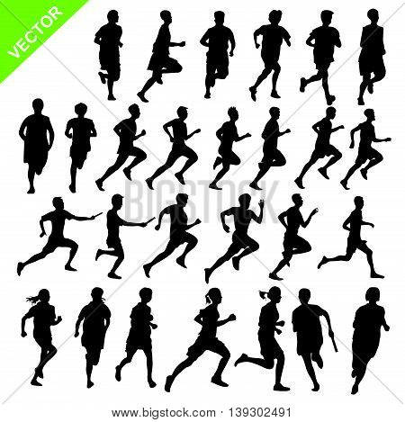 Silhouettes running vector on white color background