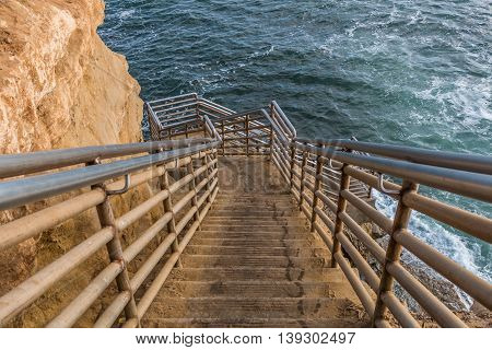 Staircase to ocean at Sunset Cliffs in San Diego, California.