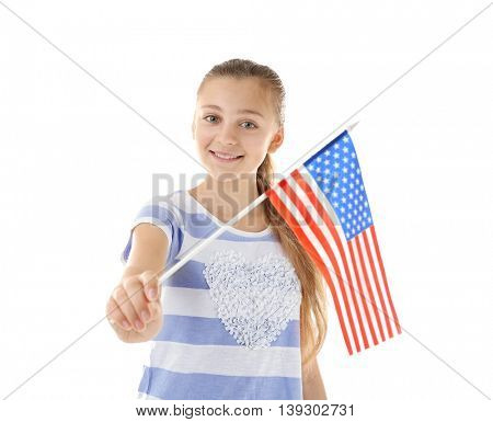 Teenage girl and American flag on white background