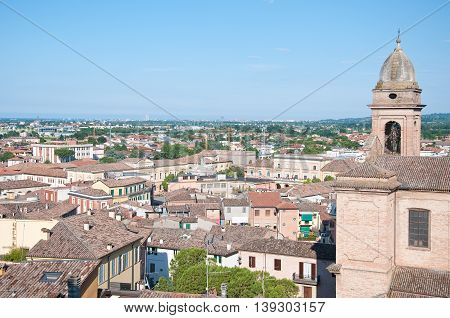 beautiful view from above the city of Romagna santarcangelo