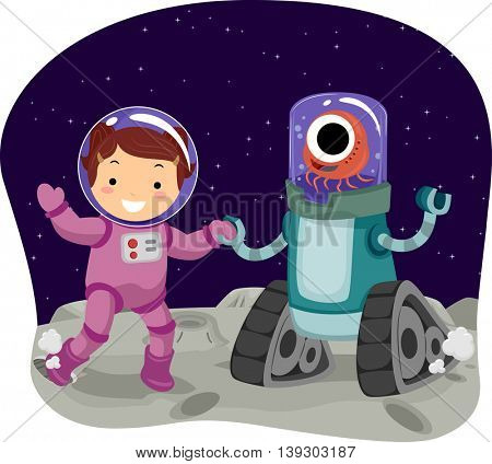 Illustration of a Little Girl Playing with an Alien