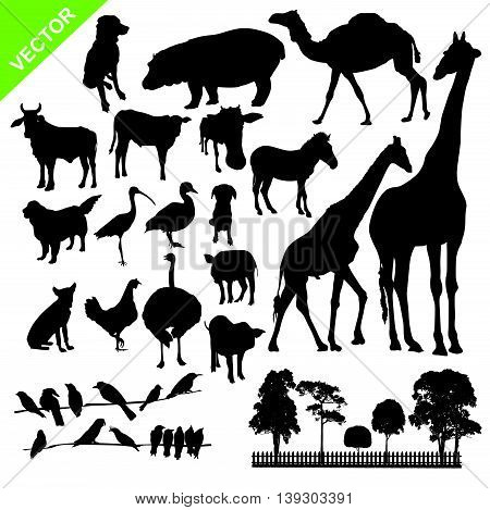 Set of aniaml and farm silhouette vector