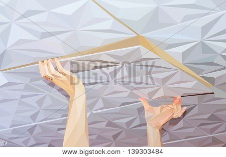 Installation of ceiling tiles made of polystyrene, low polygon style vector illustration