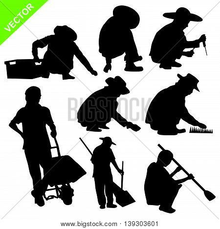 Set of labour sillouette vector on white color background